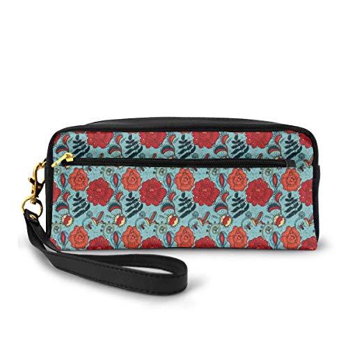 Pencil Case Pen Bag Pouch Stationary,Fern Leaves Flower Petals Venus Flytrap Flourishing Mother Earth Beauty Pattern,Small Makeup Bag Coin Purse