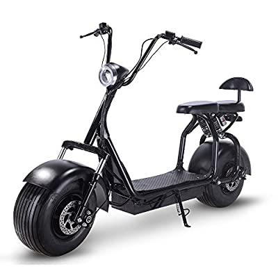 Electric 60V 1000W Fat Tire Scooters,Adult Citycoco with 2 Seat Power Scooter WERCS Battery Certificate,Key Start and Power Display (Cool Black)