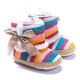 Bebé Chica Arco Iris Suela de Nieve Botas Blandas Cuna Zapatos Botas de niño...