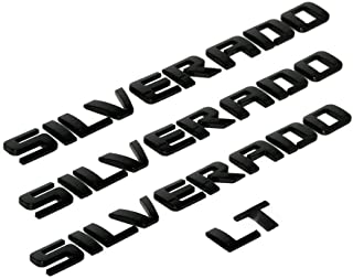 3D Raised and Strong Adhesive Decals Letters Badge Fit for Silverado LT 1500 2500Hd 3500Hd - Gloss Black