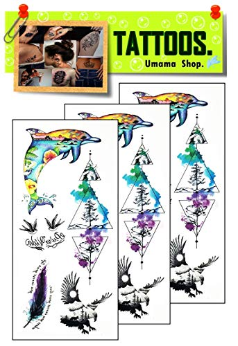 Umama Tattoos 3 Sheets Dolphin Temporary Tattoo Body Art Tattoo Sticker 3D Waterproof Men Women Realistic Tattoos Dolphin Beach sea Mountain Eagle Quill Feather Cartoon Pattern