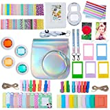 ZWOOS 12 en 1 Accesorios para Instax Mini 9/ Mini 8/ Mini 8+/ Mini 8S Cámara instantánea, Incluida Funda para cámara/Lente Selfie/álbum/Pegatinas/Marcos/Filtros (Plata láser)