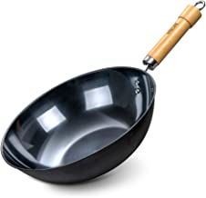 HITECLIFE Wok Pan 12 inch, 100% No Chemical, High Carbon Steel Stir Fry Pan with Detachable Wood Handle, Scratch Resistant...