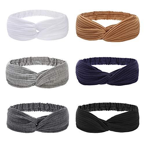 Folora 6pcs Twisted Criss Cross Elastic Headbands Soft Knitted Cotton Hair Bands for Women Girls