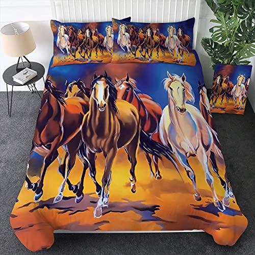 N \ A Juego de funda de edredón con estampado de caballos, 86 x 70, tamaño marrón, juegos de cama de 3 piezas, funda de edredón y fundas de almohada, color naranja y dorado