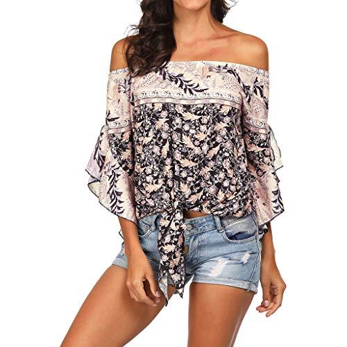 Lazzboy Donna Top Ethnic Boho off Shoulder Flare Camicia a Maniche Corte Taglia 40-44 Beach Blusa Knotted Sunscreen(S(40),Beige)
