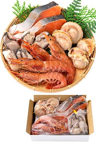 高級 海鮮 詰め合せ 4種15品 海鮮セット かき ほたて 赤 えび サーモン 【冷凍】 バーベキューセット 海鮮 bbq バーベキュー ホタテ 越前宝や