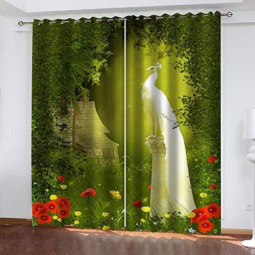 empty Cortinas Opacas Dormitorio Selva Verde y Pavo Real 3D Modernas Impresión Cortinas Opacas Aislamiento térmico Sala de Estar Opacas 100% Poliéster Cortinas 2x117x138cm(AnxAl)
