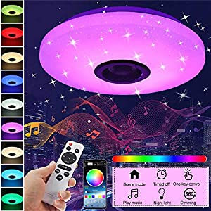 SHENXI LED Lámpara de Techo RGB Music plafon con altavoz Bluetooth,36W 3980LM LED de Techo para Música,Luces Lámpara Plafón de Techo,APP+Mando a Distanci para Baño,Fiesta de Navidad,Habitación