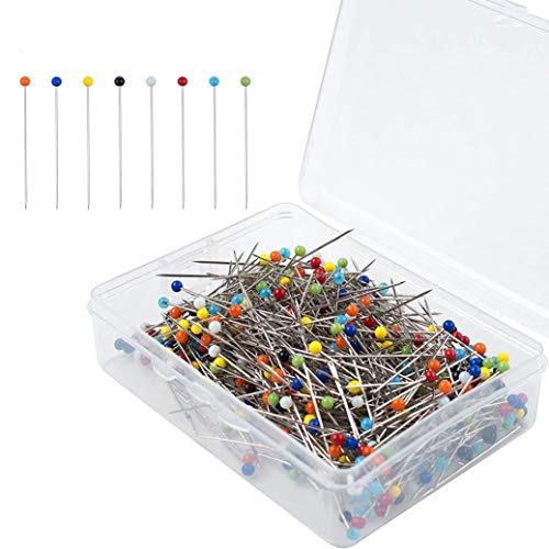 500 Pieces 38mm/1.5inch Sewing Pins with Colored Heads, HUOLIKING Glass Ball Head Pins Straight Pins Multicolor with Plastic Box for Dressmaking Quilting Jewelry Decoration