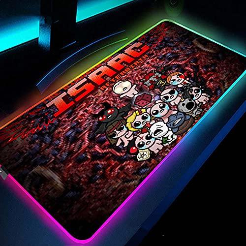 Alfombrilla de ratón para videojuegos Anime Hollow Knight RGB Mouse Pad 800 × 300 × 4 mm XXL LED Mouse Pad con base de goma antideslizante para PC, ordenador portátil, escritorio-300 x 800 mm