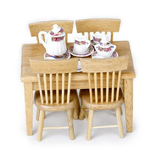F Fityle Mobili da Cucina in Miniatura per Casa delle Bambole in Legno Set da tè in Porcellana in Scala 1/12