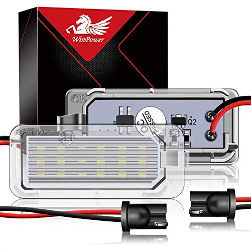WinPower LED Kennzeichenbeleuchtung Glühbirnen Nummernschildbeleuchtung Lampe 3582 SMD mit CanBus Fehlerfrei 6000K Xenon kaltweiß Super hell für 12V PKW, 2 Stücke