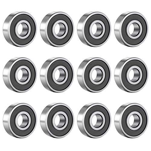 12 Stücke Rillenkugellager doppelt abgedichtet, 6900-2RS Kohlenstoffstahl Gummi abgeschirmtes Lager (10mm*22mm*6mm), Kugellager Doppelt Abgeschirmt Skateboard Longboard Rollschuhlauf Lager