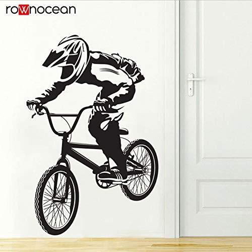 N / A Biker BMX Freestyle Hobby Vinyl Wandaufkleber für Jungen Zimmer Home Decor Abnehmbare Art Decal Wandbild Wallpaper57x87cm