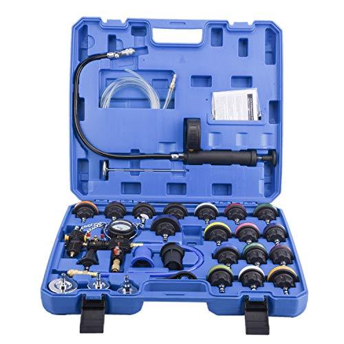 FreeTec 28-tlg Kühlsystemtester Kühlerabdrückgerät Kühler Druck Prüfung Abdrückgerät Kühlsystem Tester abdrücken Prüfgerät Wassertank Lecksucher Werkzeug