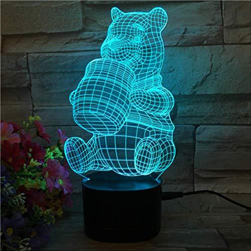 Lampe Illusion, Veilleuse 3D, Del À Dégradé De 5 Couleurs, Base Noire Avec Haut-Parleur Bluetooth, Lampe De Bureau Winnie L'Ourson