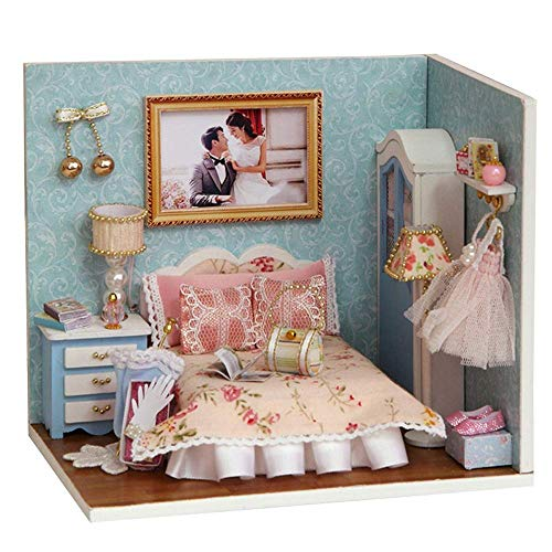 DIY Miniatur-Puppensatz, DIY Holzpuppenhandgemachte Miniatur-Kit Leisurely Zeit Raum Modell Möbel mit LED-Licht kann als Geschenk (Happy Moment) Fun Bildung und perfekte Dekoration verwendet werden 8b