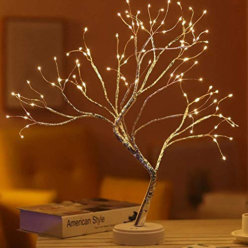 Yiliaw 20' Tabletop Bonsai Tree Light with 108 LED Copper Wire String Lights, Touch Switch,DIY Artificial Tree Lamp,USB or Battery Powered, for Bedroom Desktop Christmas Party Indoor Decoration Lights