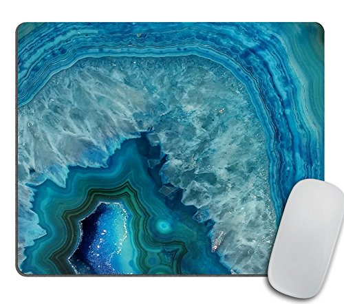 Bright Aqua Blue Turquoise Geode Mineral Stone Mouse Pad, Blue Mousepad