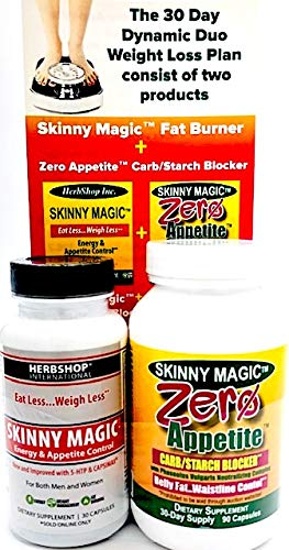 Zero Appetite Carb Blocker, 90 Capsules and Skinny Magic Energy and Appetite Control, 30 Capsules, Combo Pack