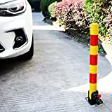 Foldable Parking Bollard Lock Post Fold Down Post Foldable Barrier Security Park Sign For Driveways Garage Parking Block Parking Assistant For Garage Pole Bright Yellow Uv-Resistant With Red Reflector