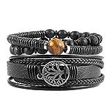 HZMAN Genuine Leather Tree of life Bracelets Men Women, Tiger Eye Natural Stone Lava Rock Beads Ethnic Tribal Elastic Bracelets Wristbands (Black)