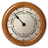 """DayClocks Classic Day Clock – Day of The Week Clock – Day to Day Clock with Noon & Midnight Markers – Unique & Fun Retirement Gift – 9.5"""" Pine Wall Clock"""