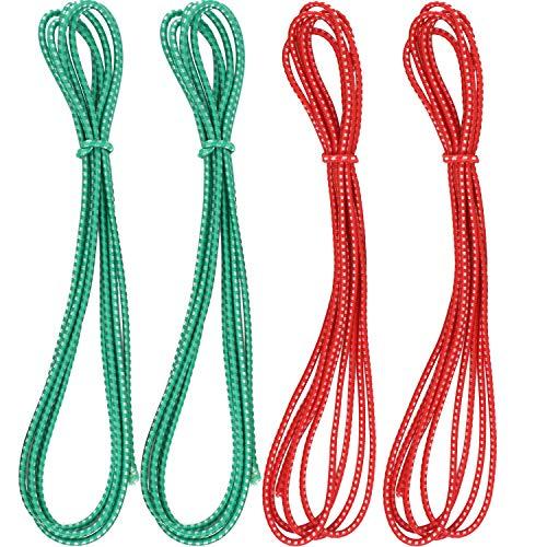 Gejoy 4 Stücke Chinesische Springseil Rot und Grün Chinesische Springseil Strecken Seil Elastische Fitness Sprungspiel für Outdoor Übung, 79 Zoll