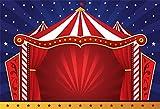Cassisy 1,5x1m Vinilo Circo Telon de Fondo Rayas Blancas Rojas Carpas de Circo Estrellas Pared de...