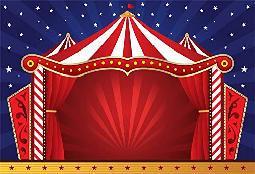 Cassisy 2,2x1,5m Vinilo Circo Telon de Fondo Rayas Blancas Rojas Carpas de Circo Estrellas Pared de Rayas Azules Fondos para Fotografia Party Infantil Photo Studio Props Photo Booth