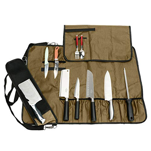 QEES Chef's Knife Bag, 17 Slots Portable Knife Roll Bag with...