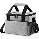 Adult Lunch Box Insulated Lunch Bag for Men & Women, Large Lunch Cooler Tote with Adjustable Shoulder Strap, Side Pockets and Water Bottle Holder, Reusable Leak Proof Lunch Bags (Grey)