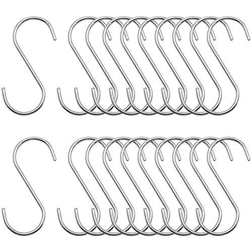 RtottiM 20 Stück Edelstahl Hängehaken S Haken Fleischerhaken Garderobe Silber Hängehaken für Küche, Bad, Schlafzimmer und Büro