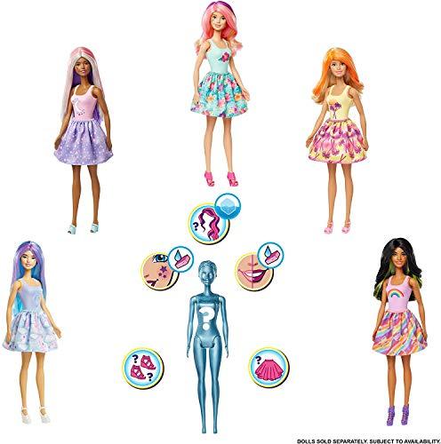 Barbie Color Reveal poupée avec 7 éléments mystère, thème Nature, 4 sachets surprise, modèle aléatoire, jouet pour enfant, GTP42