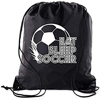 Soccer Party Favors | Soccer Drawstring Backpacks for Birthday Parties, Team events, and much more! - 10PK Black CA2500SOCCER S3