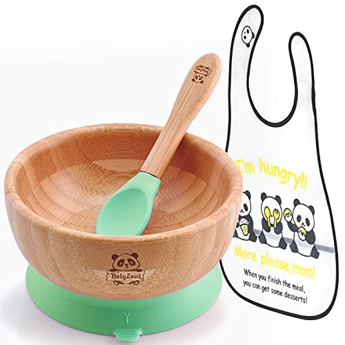 BABYLOVIT Bambus Baby Set   Natürliche Bambus Schüssel  Tüv Geprüft & Zertifiziert   Bambus Schale mit Saugnapf, Besteck und Lätzchen   Kinder Geschirr (Grün)