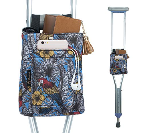 PACMAXI Crutch Bag Lightweight Crutch Storage Pouch with Clip Closure, Roomy Crutch Accessories Bag for Universal Uses (Parrot)