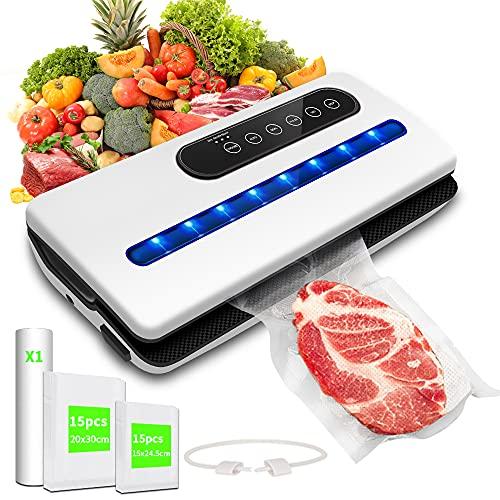 Vakuumiergerät,Einschweissgerät Vakuum für Lebensmittel,Automatische Vacuum Sealer für TrockeneundFeuchte Lebensmittel | mit 30PCS BPA-freien Vakuumbeuteln,1 Rolle Folienbeutel,1 Vakuumschläuche