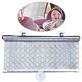 WEKON Auto Sonnenblende, Baby Kinder Sommer UV-Schutz, Sonnenschutzrollo Seitenfenster, Sonnenschutz mit Saugnäpfen für Seitenscheibe - Silber