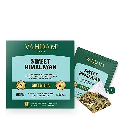 VAHDAM, süßer Himalaya Detox Grüner Tee | 30 Tea Bags (2er Set) | 100% natürlicher Detox Tee | Grüne Teeblätter, Stevia, Kurkuma, Shatavari, Kardamom, Ashwagandha | Gebraut als heißer Tee oder Eistee