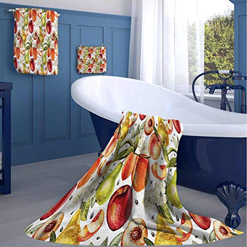 HOMEDECORATIONS Peach Graphic Digital Printing Bath Towel Organic Country Garden Nice Plush Quality washcloths Gifts for Best Friend