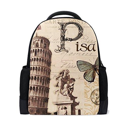 LIANCHENYI Paris Pisa Mochila informal para la escuela, mochila de viaje