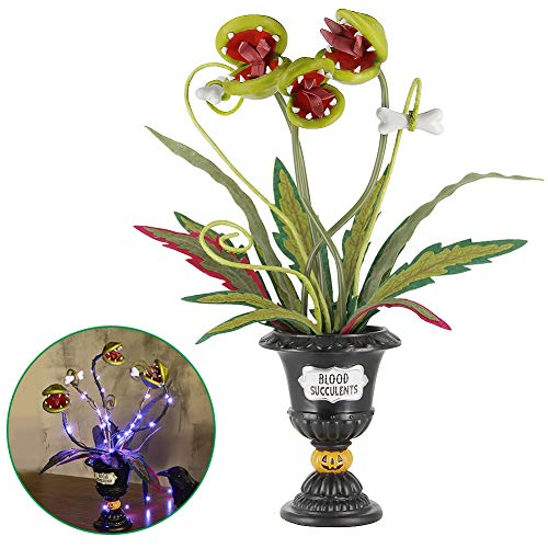 ATDAWN Halloween Table Decorations, 18″ Halloween Flowers Decoration, Lighted Halloween Table Centerpieces, Artificial Corpse Flowers for Halloween Indoor Home Tabletop Haunted House Decorations