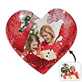 Gusha Customized Photo Pillow Personalized Mermaid Sequin Pillow Heart-Shaped Pillow Magic Sequin Throw Pillow Anniversary for Women(Pillowcase + Pillow CoreRed Single-Sided 4040cm/15.7515.75 in)
