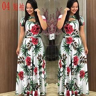 Elegant autumn Women's Dress 2020 Casual Bohemia Flower Print Maxi Dresses Fashion Hollow Out Tunic Dress Plus Size 5XL brand:TONWIN (Color : D short, Size : 5XL)
