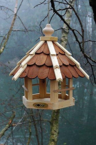 dobar 90638e Vogelhaus aus Holz (Kiefer) für Garten, Balkon, mit dunklen Holzschindeln, Kordel zum Aufhängen – Vogelhäuschen Vogel-Futterhaus - 2
