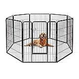 Goplus Recinzione in Metallo per Animali Domestici con 8 Pannelli e 2 Serrature, Recinto p...