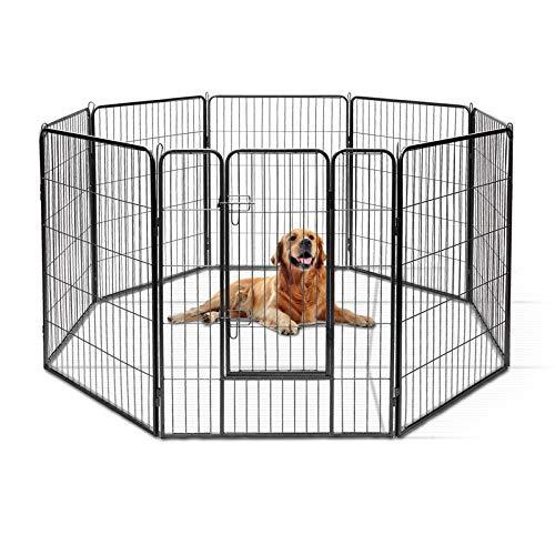 Goplus Recinzione in Metallo per Animali Domestici con 8 Pannelli e 2 Serrature, Recinto per Cani Resistente e Robusta, Facile da Montare, 160 x 160 x 100cm