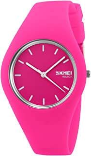 TONSHEN Simple Fashion Analog Quartz Watch Rubber Band Casual Style Wrist Watches for Women Girl 12 Colours (Rose)